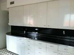 Metallic sprayed kitchen cabinates.