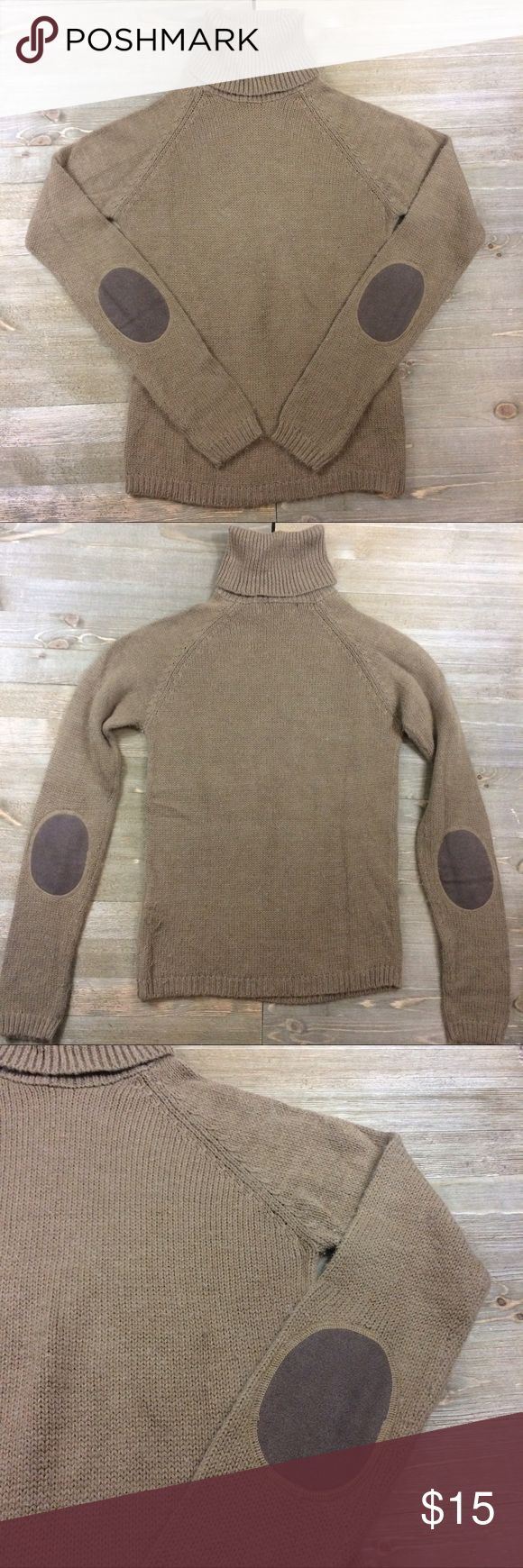 Zara Elbow Patch Sweater Light brown turtleneck sweater with dark brown elbow patches Zara Sweaters Cowl & Turtlenecks