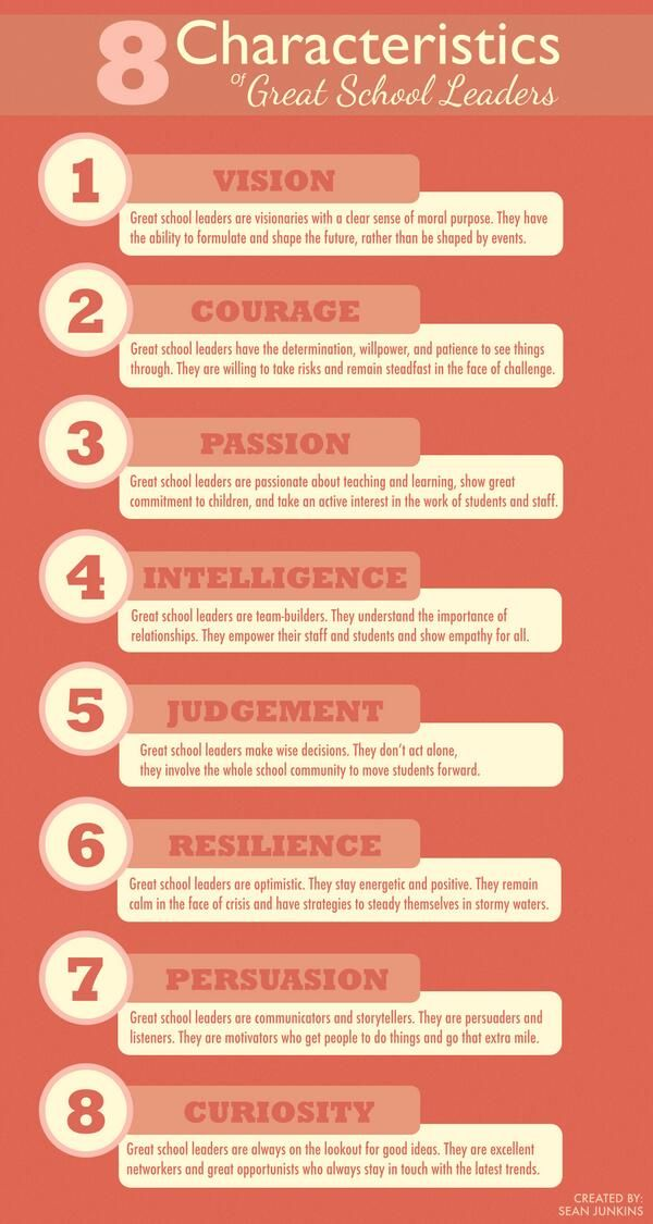 """8 Characteristics of Great School Leaders"". #edchat #cpchat"