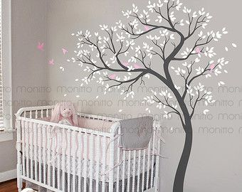 Natural Grey and White Tree DecalBirds Wall by Monitto on Etsy