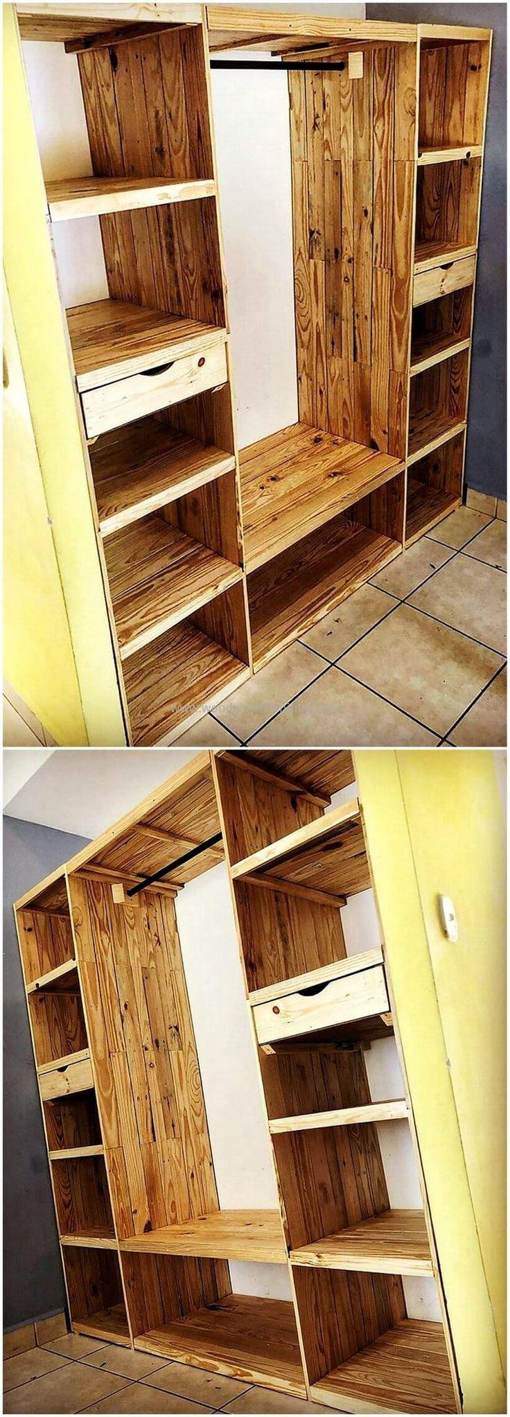 Are you looking for the best wooden structure with large storage space in it, then simply craft this awesome wooden pallet wardrobe design. This wardrobe will definitely provide you enough storing and placing space in it and will surely increase the beauty of your place at low-price.