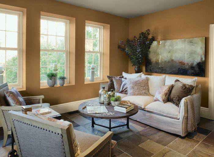 Wohnzimmer Streichen Ideen Helle Wandfarbe Bodenfliesen Runder Couchtisch