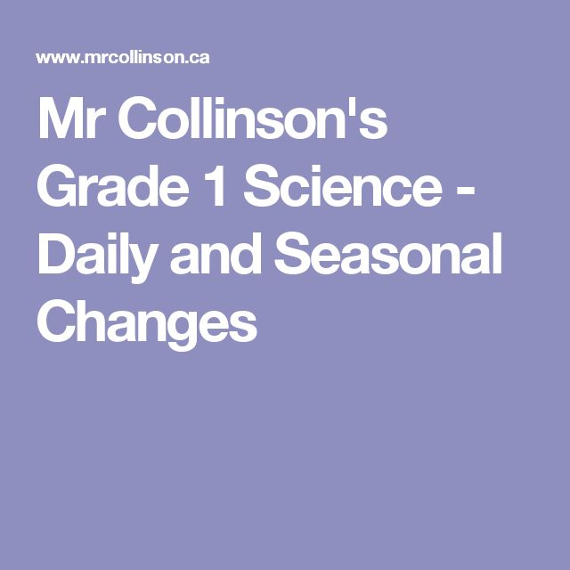 Mr Collinson's Grade 1 Science - Daily and Seasonal Changes