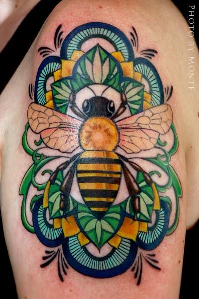 #bee #tattoo by Laura Black at Firefly Tattoo in Indianapolis