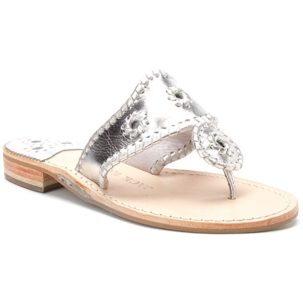 Jack Rogers Women's Navajo Hamptons Flat Sandals (391400401) ($118) ❤ liked on Polyvore featuring shoes, sandals, silver, flat sandals, low heel sandals, leather thong sandals, flat leather sandals and metallic flat sandals