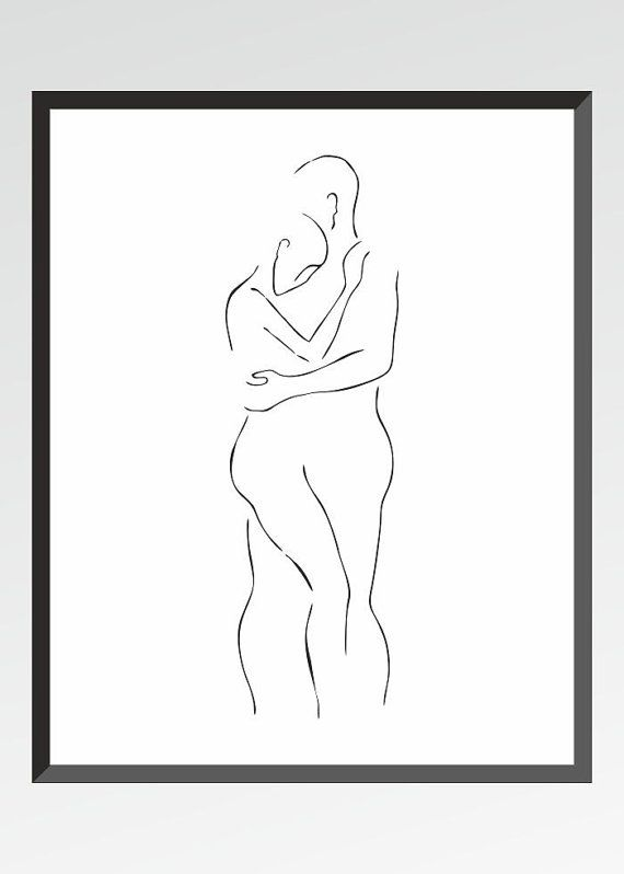 Minimalist figure sketch of a man and woman holding each other by siret roots.