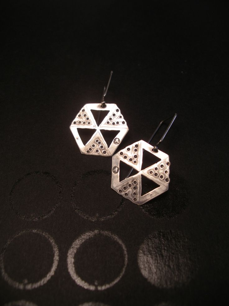 HEXAGON EARRING: HIVE WISDOM handcut sterling silver by Jessica Jubb