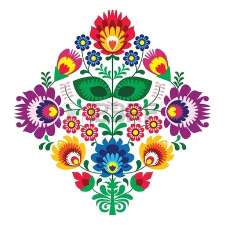 Folk bordado con flores - patrón tradicional polaca Foto de archivo