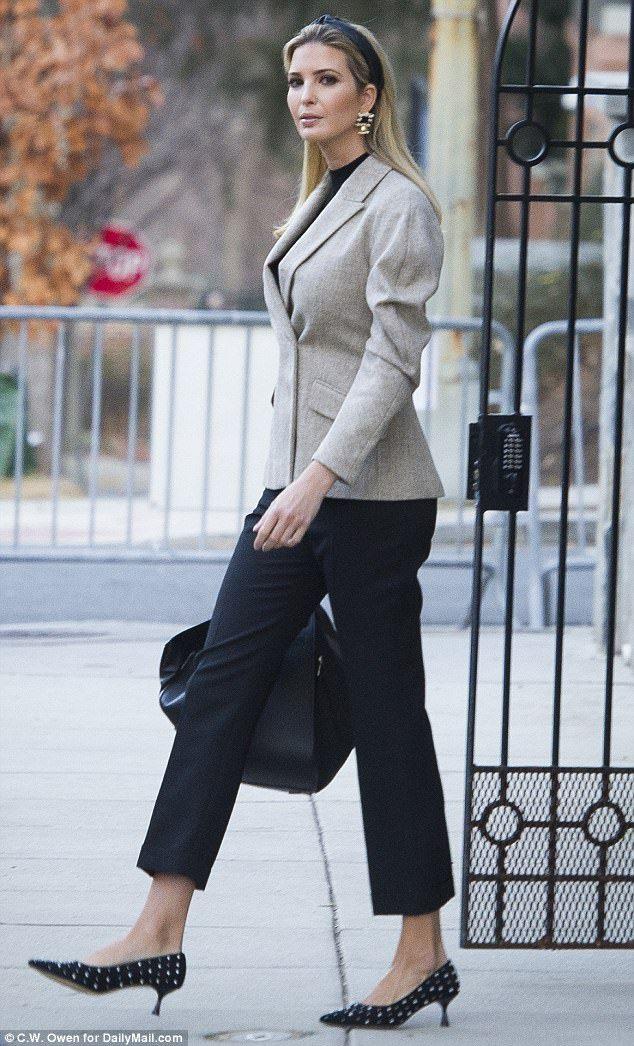 15c95917bcf Take some lady like steps like Ivanka in her Zara pearl kitten heels   DailyMail