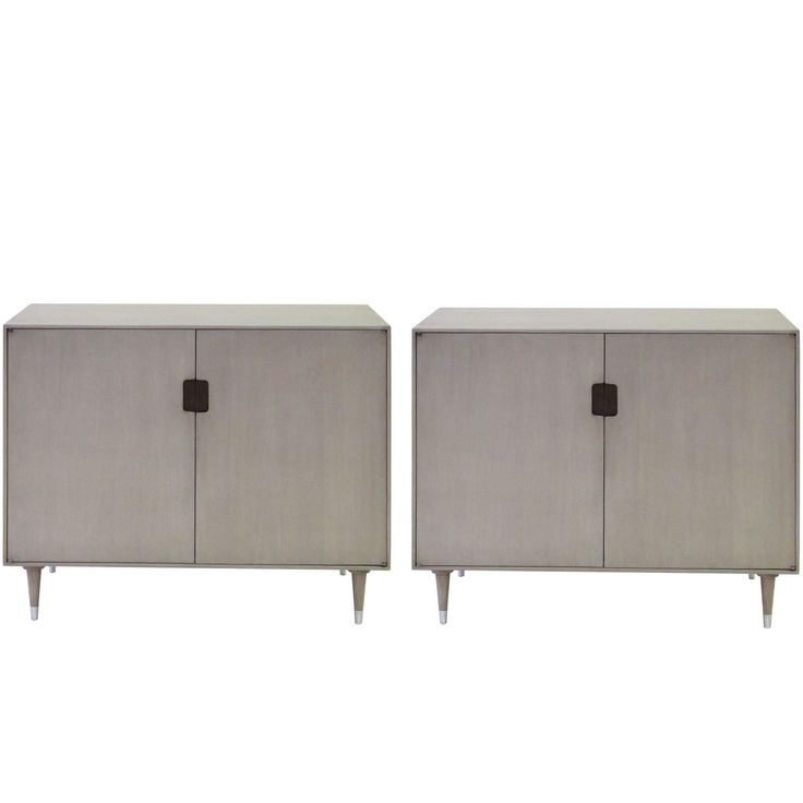Sleek Pair of Danish Modern Grey-Washed Birchwood Two-Door Console Cabinets