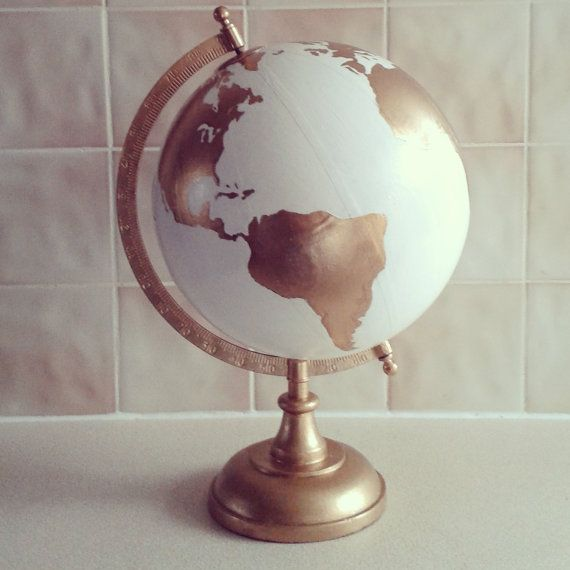 Hand Painted Globe -Wedding guest book