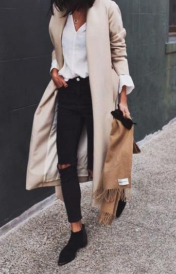 street style - black skinny jeans, white shirt, black ankle boots, cream coat (winter)