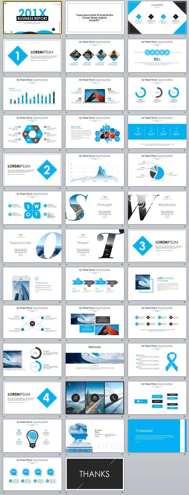 38+ Best Blue business report PowerPoint template