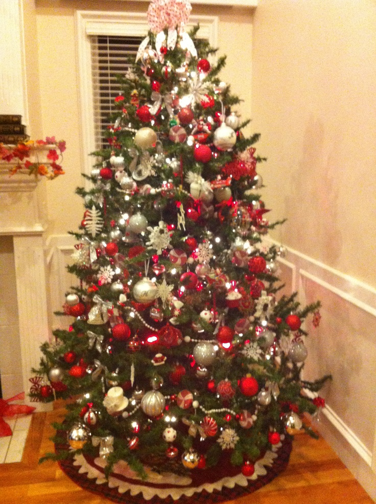 Red, silver, & white tree | Christmas Trees | Pinterest