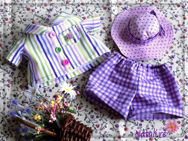 Летний комплект одежды для игрушки-лягушки из хлопка