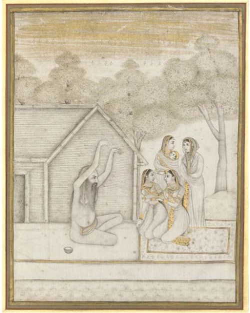 Group of Women Meeting with a Yogi Mugal India, Lacknow, ca. 1750 Gouache heightened with gold on paper