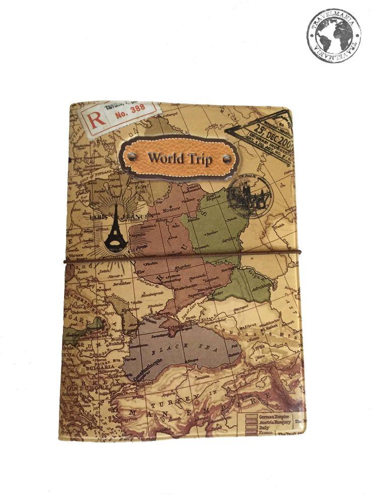 Porta Pasaporte Mapa.  Medidas: 14 x 9,6 cm.