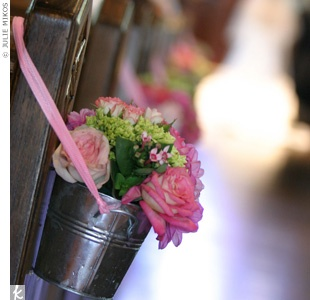church decor - buckets/glases with handle of flowers