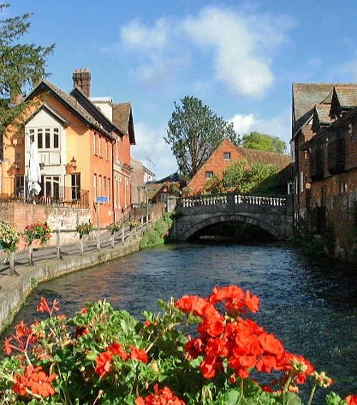 The River Itchen at Winchester, Hampshire, England, UK