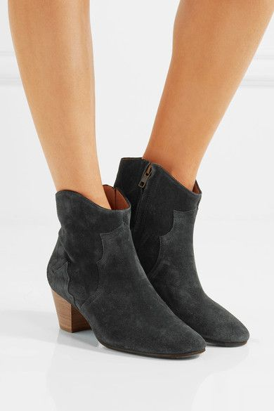 Heel measures approximately 55mm/ 2 inches Charcoal suede Zip fastening along side Designer color: Faded Black Made in France