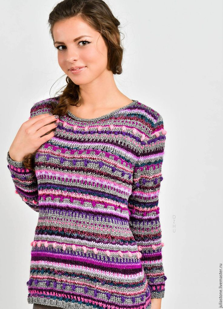"""Купить Пуловер """""""" Все оттенки аметиста"""" - мятный, однотонный, свитер, свитер вязаный"""