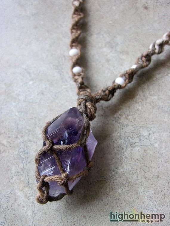 Raw Amethyst Necklace Healing Jewelry Natural Hemp by HighonHemp