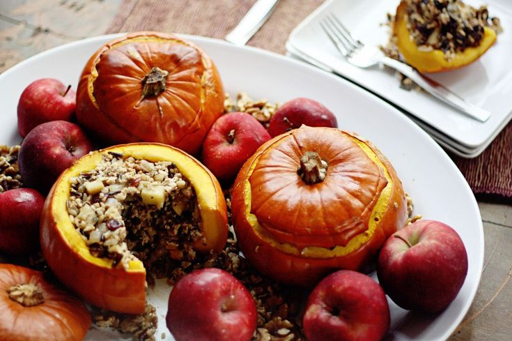 Turkey, Wild Rice, Apple, and Cranberry Stuffed Pumpkins