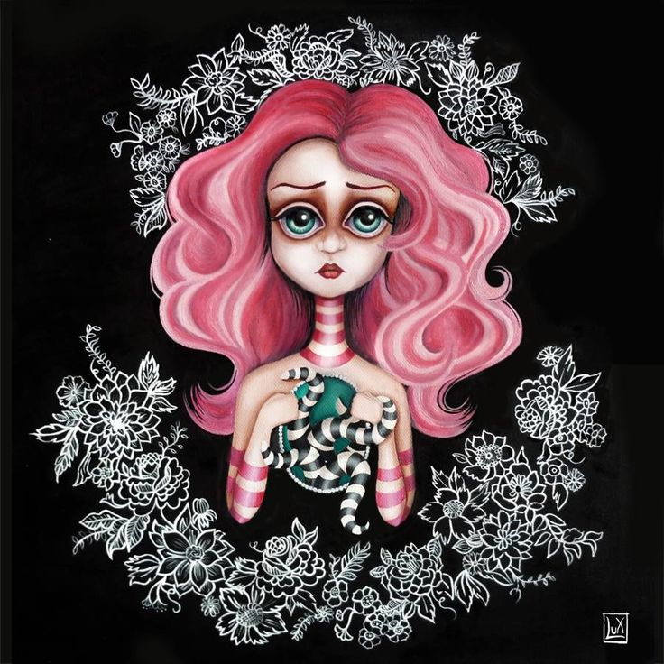 Mirabilia, oil on canvas  popsurrealism, lowbrow, surreal art, girl, octopus. art by #Alessandra Lux #popsurrealism #art #stripes @contemporaryart #pinkhair #flower #octopus #mirabilia