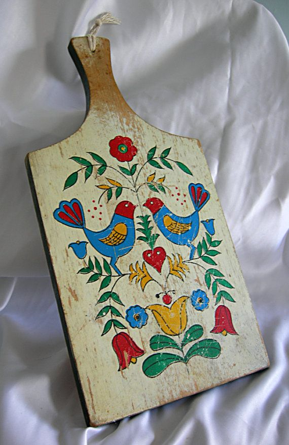 vintage amish pennsylvania dutch double distlefink cutting board on etsy $17.00