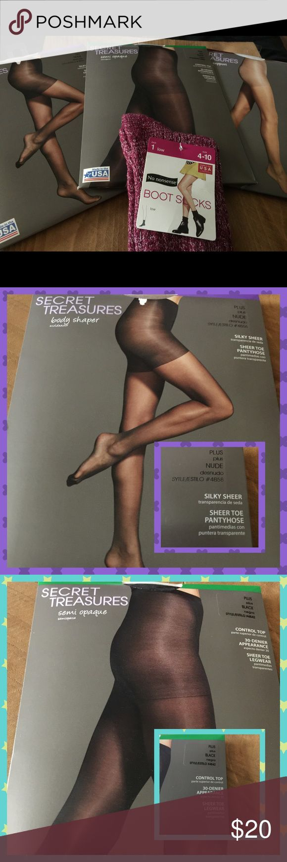 NIP SECRET TREASURES PANTYHOSE/NoNonsense Sock lot 1st pair: Black Semi opaque Plus size Control top. 2nd pair:  NUDE Body Shaper Plus size silky sheer (Please note: there is a slight flaw in the packaging) 3rd pair: Firm Support Size 2X White Control Top. Lastly; a pair of Marled Bootie socks; size 4-10  ALL BRAND NEW IN PACKAGE 😊💐 Secret Treasures Accessories Hosiery & Socks