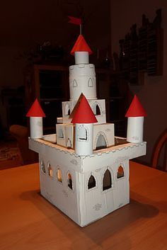 cardboard castle with toilet paper tubes