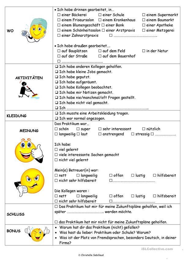 Praktikumsbericht Praktikumsbericht Schreiben Lehren Daf
