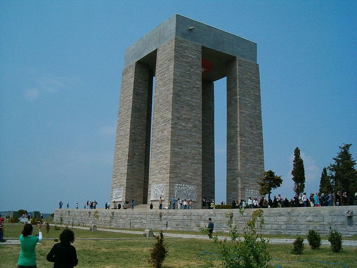 The Çanakkale Martyrs' Memorial (Turkish: Çanakkale Şehitleri Anıtı) is a war memorial commemorating the service of about 253,000 Turkish soldiers who participated at the Battle of Gallipoli, which took place from April 1915 to December 1915 during the First World War. It is located within the Gallipoli Peninsula Historical National Park on Hisarlık Hill in Morto Bay at the southern end of the Gallipoli peninsula in Çanakkale Province, Turkey.