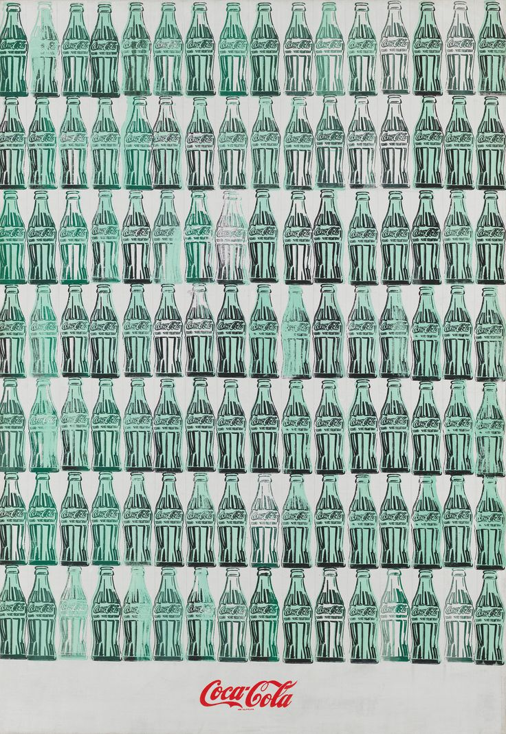 Andy Warhol (1928-1987), Green Coca-Cola Bottles, 1962. Acrylic, screenprint, and graphite pencil on canvas. Overall: 82 3/4 × 57 1/8 in. (210.2 × 145.1 cm). Whitney Museum of American Art, New York; Purchase, with funds from the Friends of the Whitney Museum of American Art 68.25 © Andy Warhol Foundation/Artists Rights Society (ARS) New York; Registered Trademark, The Coca Cola Company. All rights reserved