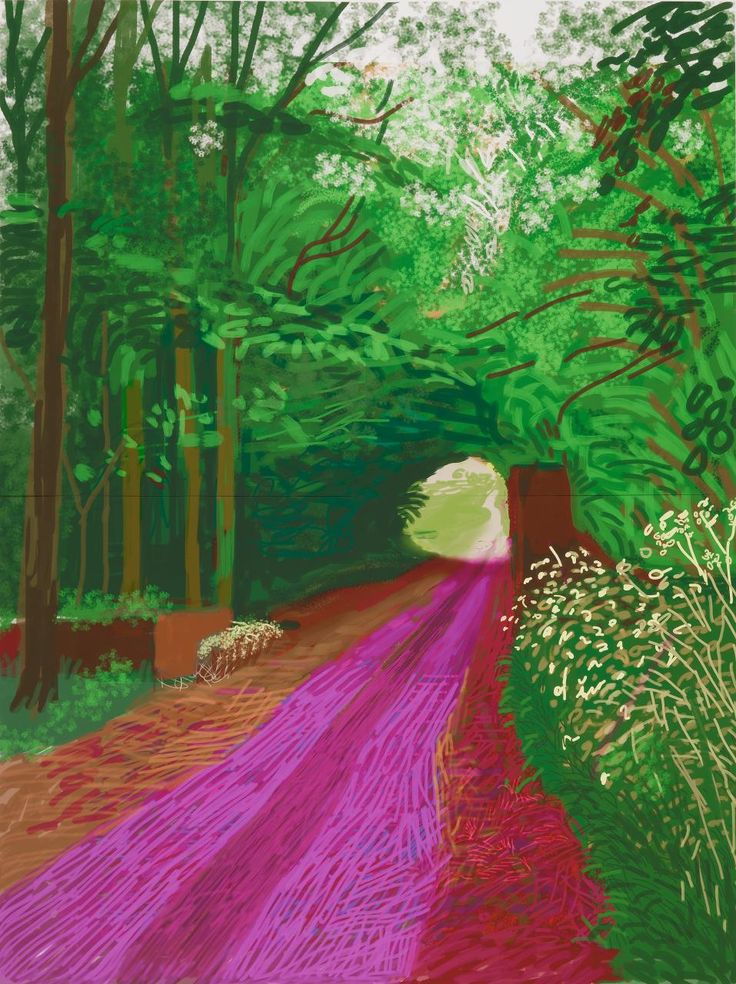 David Hockney (UK b.1937) The arrival of spring in Woldgate, East Yorkshire in 2011 (twenty eleven) – 31 May, No. 1 (900) iPad drawing printed on 6 sheets of paper mounted on Dibond 290.8 x 218.4 cm (overall)