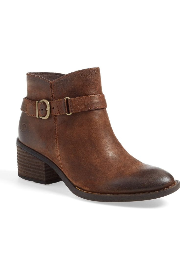 Distressed ankle boots are a must for fall! These ones from the Anniversary Sale feature a stacked block heel and buckle-embellished strap. Too cute.