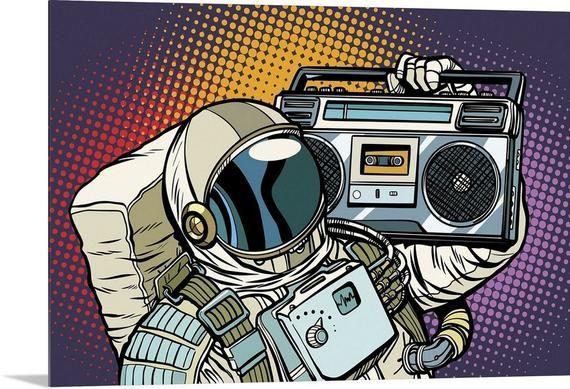 Retro Pop Art Astronaut With Boombox Acrylic Wall Art Print Etsy Boombox Art Retro Vector Illustration Pop Art