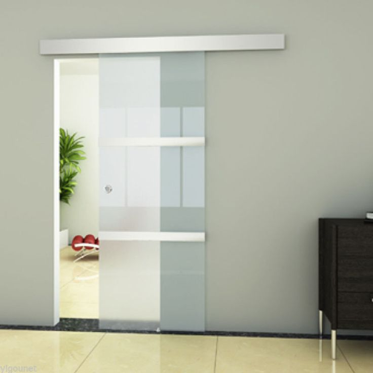 NEW Frameless Sliding Glass Door Frosted Panels Interior Top Hung Track Home