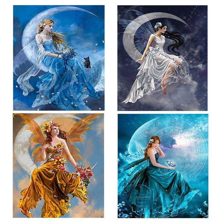Diamond embroidery portrait moon beauty 5d diy diamond painting girl angel round diamond mosaic crystal cross stitch kits-in Diamond Painting Cross Stitch from Home & Garden on Aliexpress.com | Alibaba Group