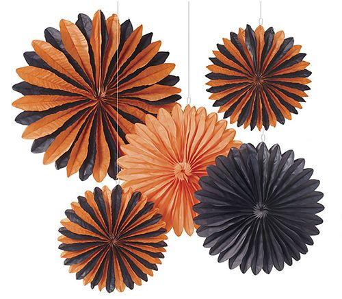 Halloween Large Rosette Kit from Paper Source, Halloween, Halloween decor, halloween party, halloween rosettes, black and orange, black and orange rosettes