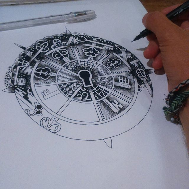"""Working on an antique keys Mandala."" OOoo this looks like so much fun!"