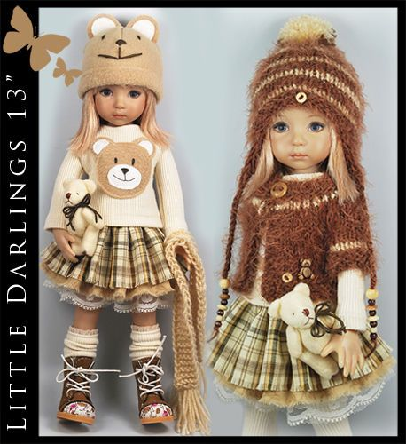 """Teddy Bear Brown 8-Piece Outfit for Little Darlings Effner 13"""" by Maggie & Kate"""