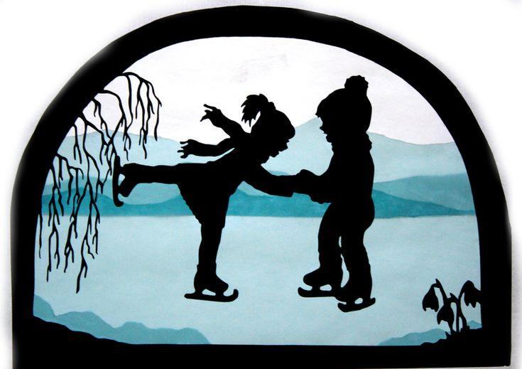 Winter - Fensterbild Winter Eis laufen Transparentbild - ein Designerstück von Juliane-Buness bei DaWanda