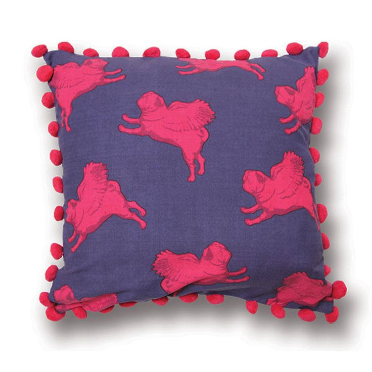 Flying Pug Pompom Cushion Pink & Purple