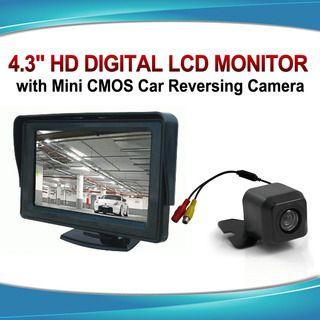 "4.3"" Monitor + 12v Reversing Camera Kit Car Caravan LCD Rearview IR Night Vision"