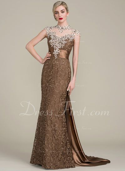 da2b43dae692c Trumpet/Mermaid Scoop Neck Watteau Train Lace Mother of the Bride Dress  With Beading Sequins (008102700) - DressFirst