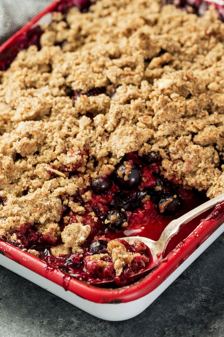 The paradox of a fruit crisp is that it's usually not crisp, nor is a fruit crumble necessarily crumbly. Here, however, the crumbs are as crisp as cookies, offering a textural contrast to the puddinglike berries. This delicious treat is at once crispy, crumbly and profoundly fruity. Crunchy Berry Almond Crumble - NYT Cooking