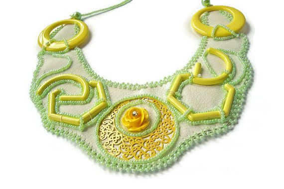 Leather Embroidered Necklace #Yellow #Jewelry Yellow Necklace