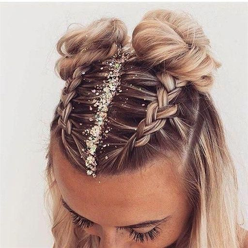 Jan 4, 2020 - Fun and festive hairstyle for NYE by @charlheaneyibizahair :: NYE Hairstyles for women, NYE hair, Hairstyle inspiration, Hairstyles with glitter, Topknot buns, french braid hairstyles, clip in extensions #Braids #braidedhairstyles