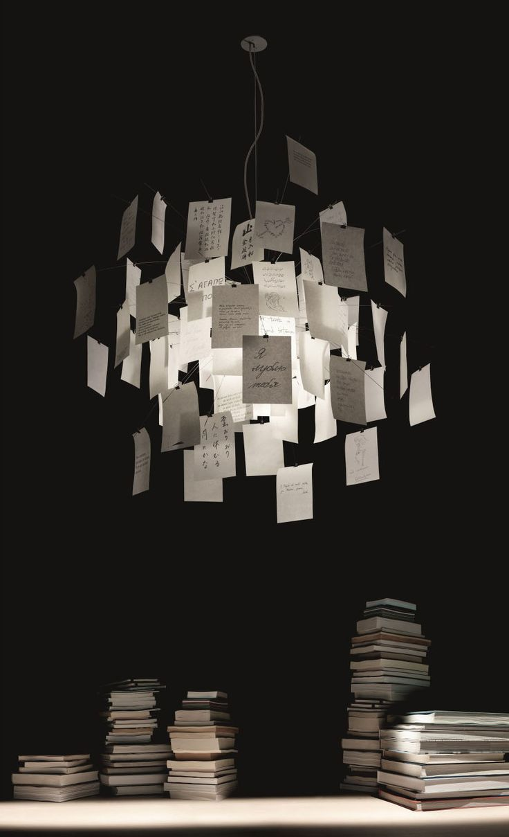 "The famous and popular Zettel'z 5 suspension lamp was designed by Ingo Maurer himself in 1997. The Zettel'z 5, with a diameter of Ø 120 cm, is a unique lamp and a deluxe design object at the same time. 31 printed and 49 blank sheets of DIN A5 paper are included in the deliver, just as the illuminant. The ""notes"" fastened by clamps make for an interesting play of light and shadow. An additional set of 80 sheets can be ordered as ""accessory""."